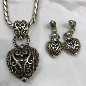 Brighton sterling silver necklace and earrings set